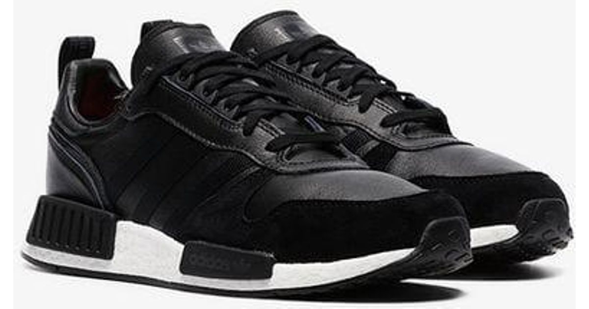 promo code a95f6 f7ed3 Adidas Black Rising Star R1 Leather And Suede Sneakers for men