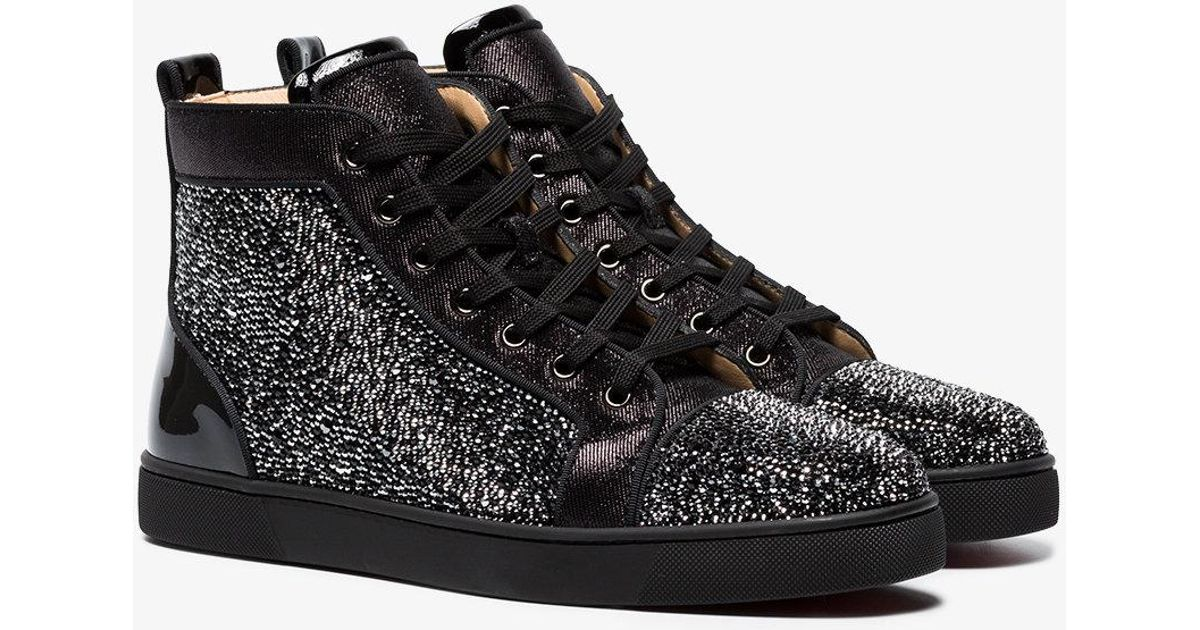 972d7e268970 Lyst - Christian Louboutin Black Louis Strass Crystal Sneakers in Black for  Men