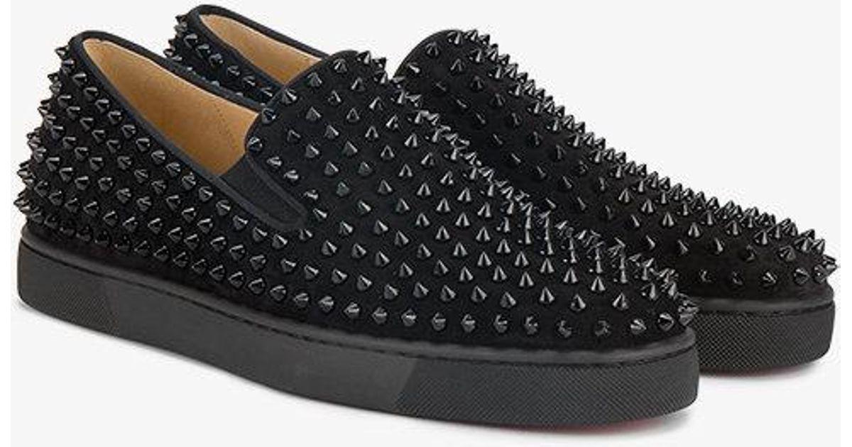 cb148e67810 Christian Louboutin Black Roller Boat Flat Spike Loafers for men