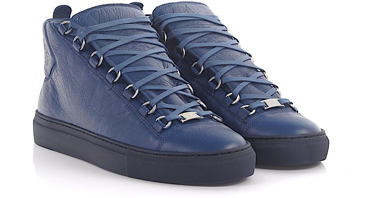 a37d27e44c086 Lyst - Balenciaga Sneakers Arena High Leather Blue Crinkled in Blue for Men