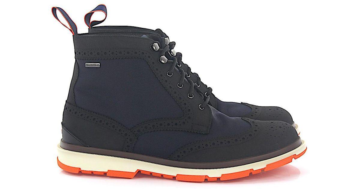new concept 4b8ca b2c92 Swims Boots Budapester Storm Brogue High Black Hightech-jersey Blue for men