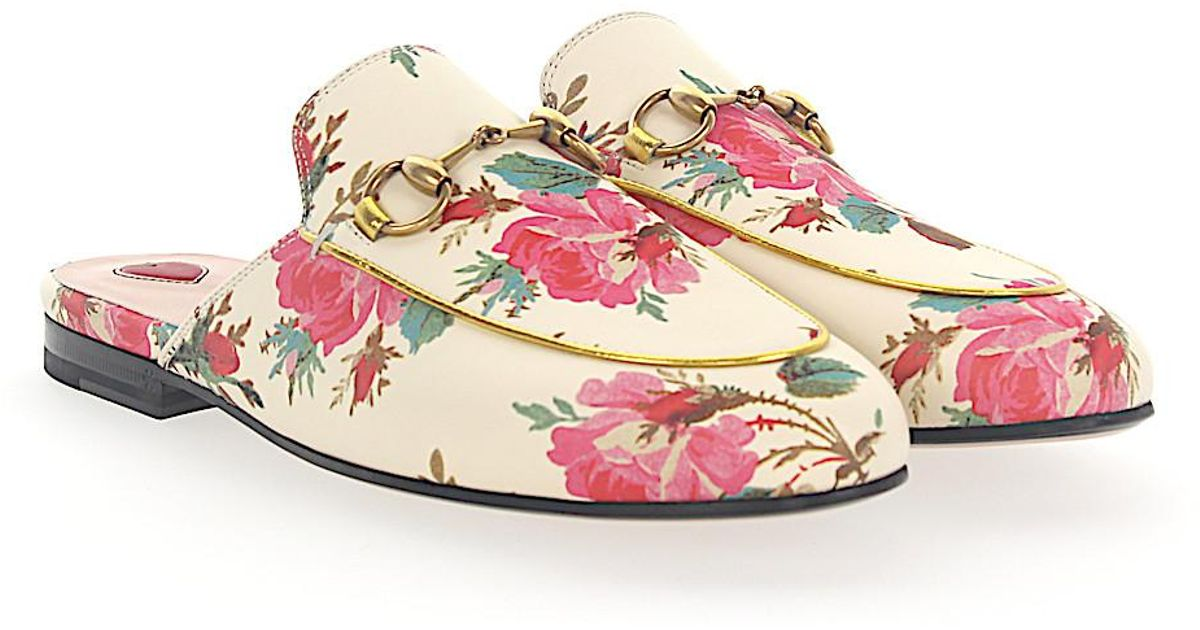 Gucci Slipper PRINCETOWN leather beige roses print Horsebit-Detail A7LLD