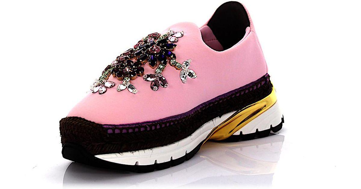 Dolce & Gabbana Sneakers Espadrillas neopren rose bast brown jewelry embellished wdKg5Tpf