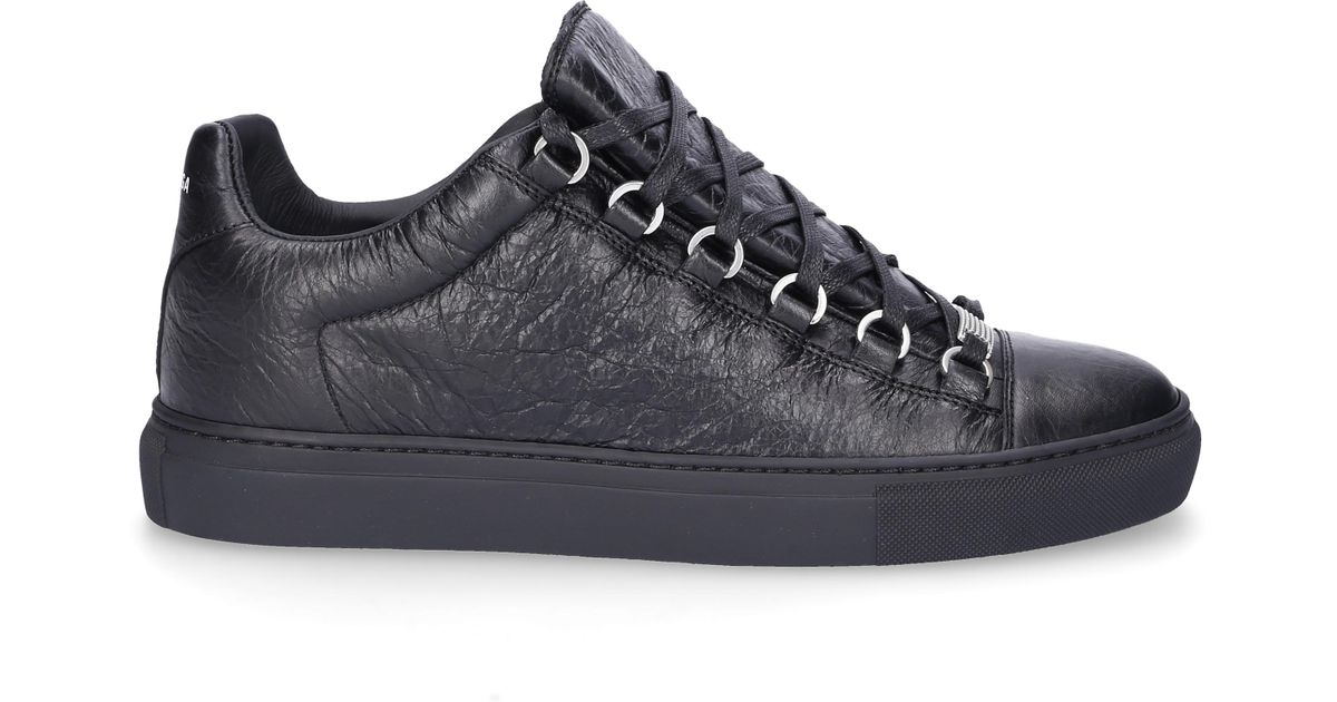Balenciaga Leather Low Top Sneakers Arena In Black For Men