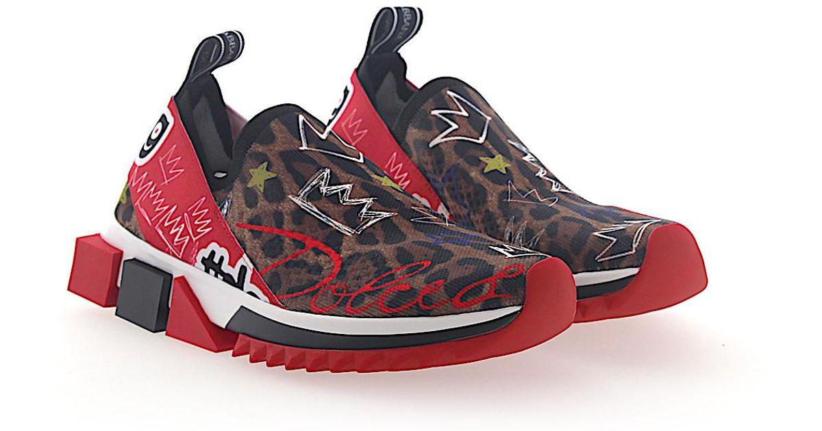 Sneaker Slip-On SORRENTO Graffiti-Print stretch leopard Dolce & Gabbana P3c8QPbIR