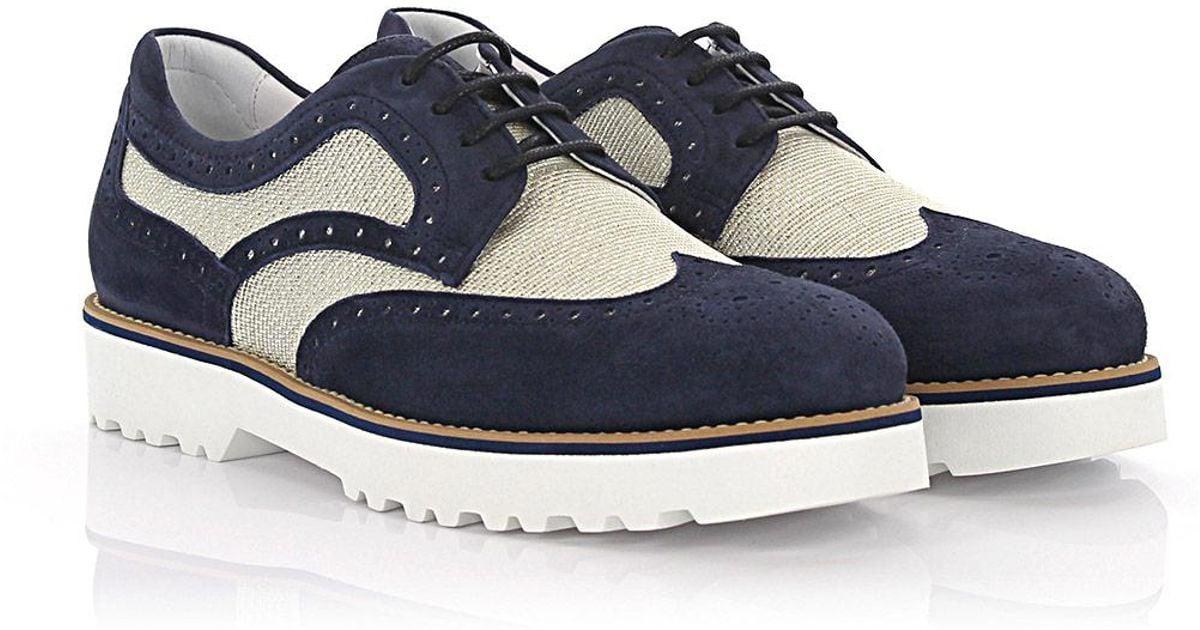 Route Lace-up shoes suede material blue Hogan hopBzPay