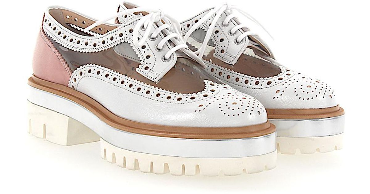 santoni Lace-up shoes 57030 calfskin PVC Hole pattern rose silver transparent