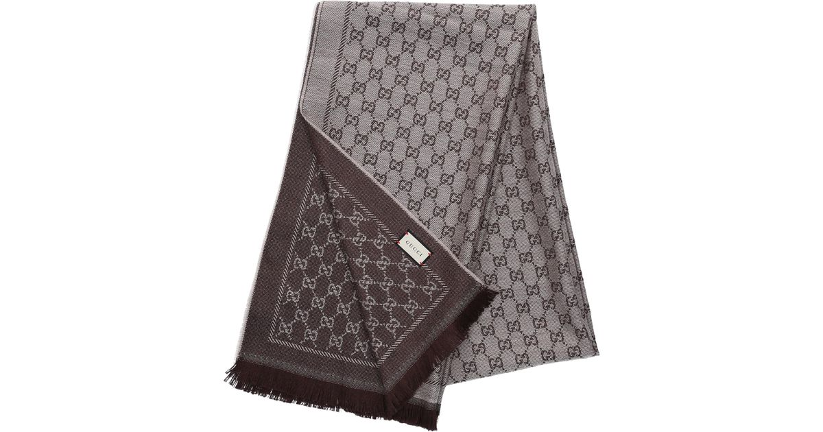 d662bbc0906fb Gucci Schal 3g200 Baumwolle Logo Beige Braun in Brown - Lyst