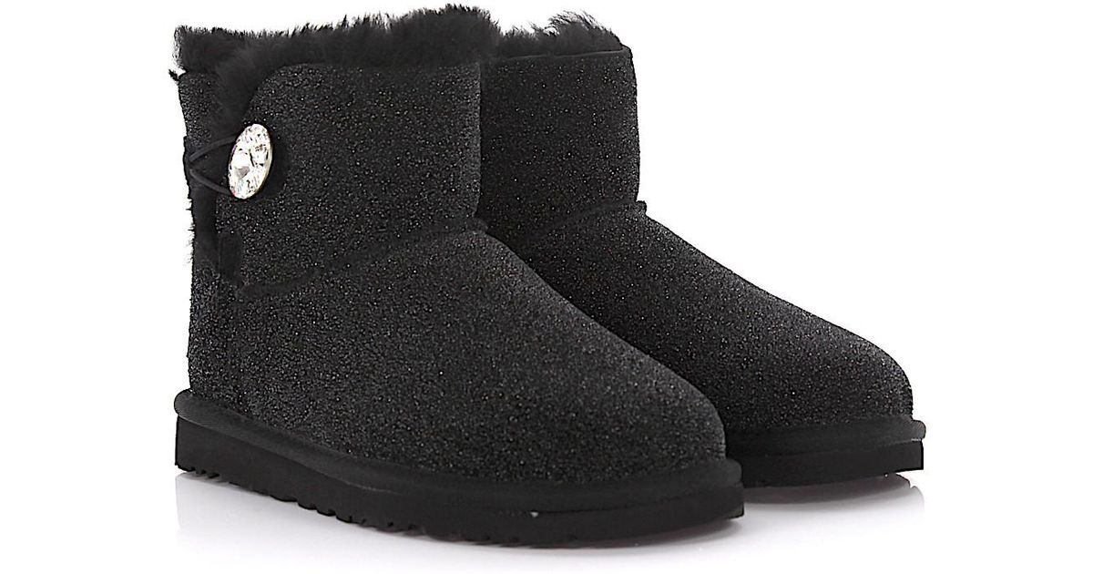 Lyst - Ugg Boots Mini Bailey Button Bling Serein Suede Black Glitter Lamb Fur Jewelry in Black