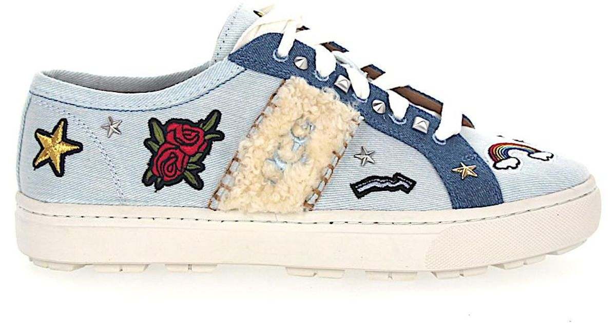 3daf7757e23 Ugg White Sneakers W Patch It Denim Logo Blue-combo