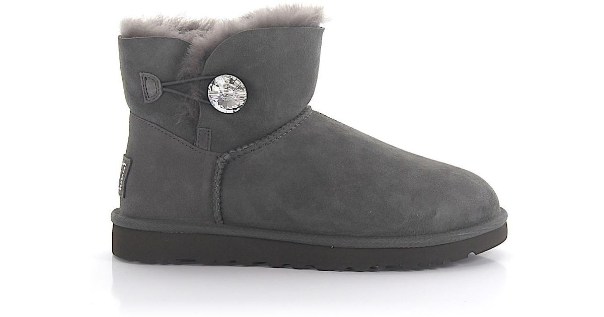 a66afa1e361 Ugg Gray Ankle Boots Mini Bailey Suede Grey Swarovski Crystal Lamb Fur