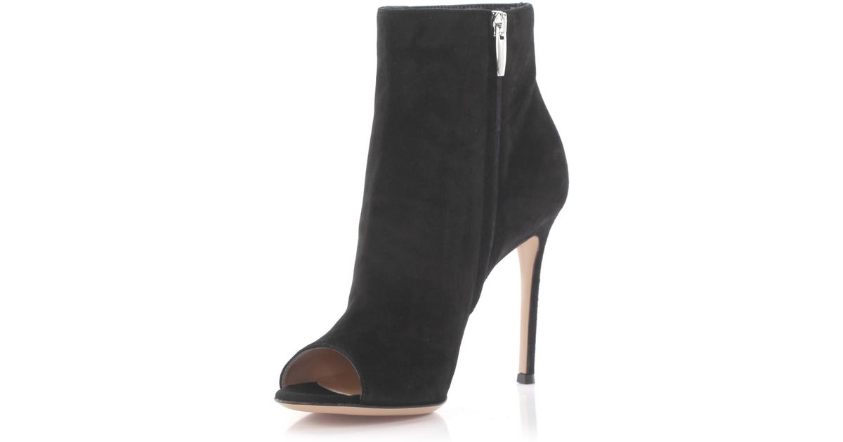 Gianvito Rossi Peeptoe Ankle Boots Lais Bootie suede z0uX6h5NMk
