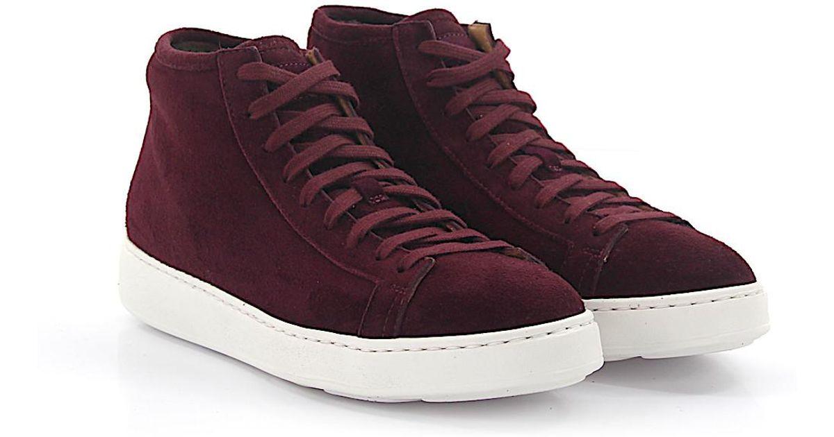 best service fbfaa a289e Suede hombre Míd Santoni en para Lyst 60124 Sneakers Bordeaux Fur rojo  wH7ISI