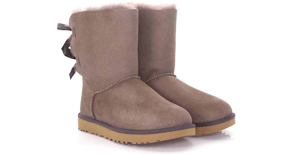 UGG Boots BAILEY BOW 2 suede lilac lamb fur ikESmsv3g