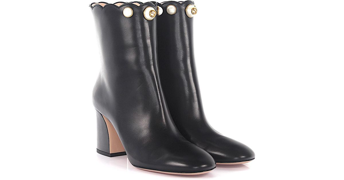 4bccee08423 Gucci Boots Leather Black Pearls in Black - Lyst