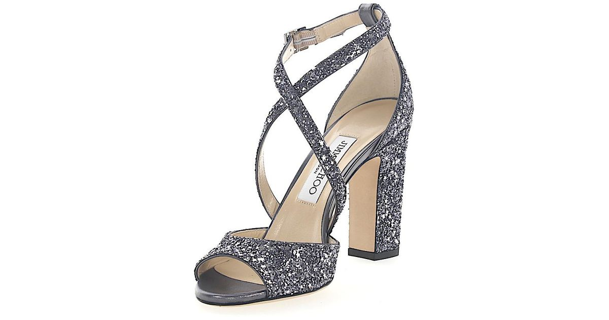 8f04252e7be ... amazon lyst jimmy choo sandals carrie 100 fabric silver grey glitter  stars sequins in metallic 5ffa9