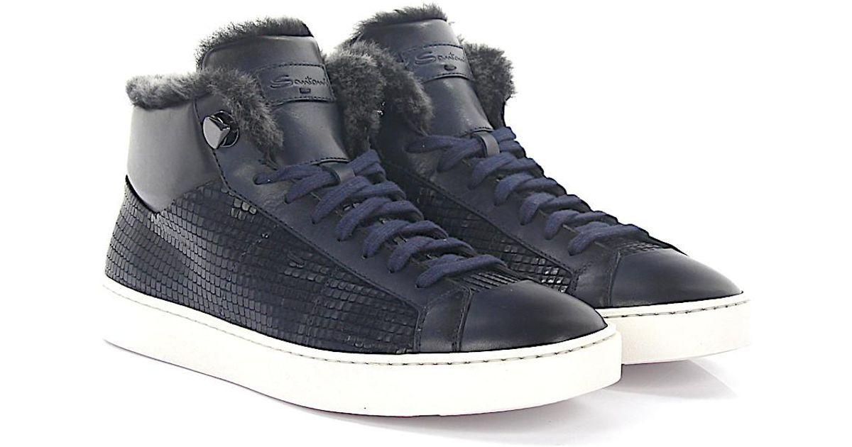 Sneakers 54977 leather blue embossed lambskin Santoni 1Do6566