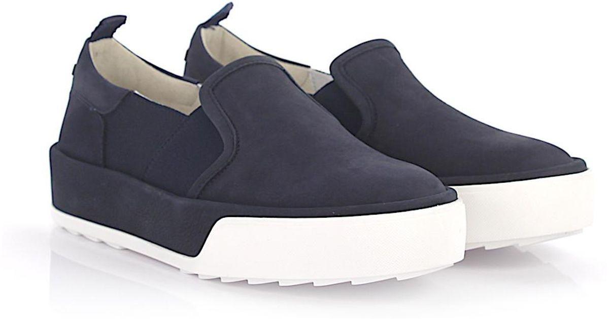 Sneaker calfskin nubuck stretch Logo blue Hogan pJeJ1V