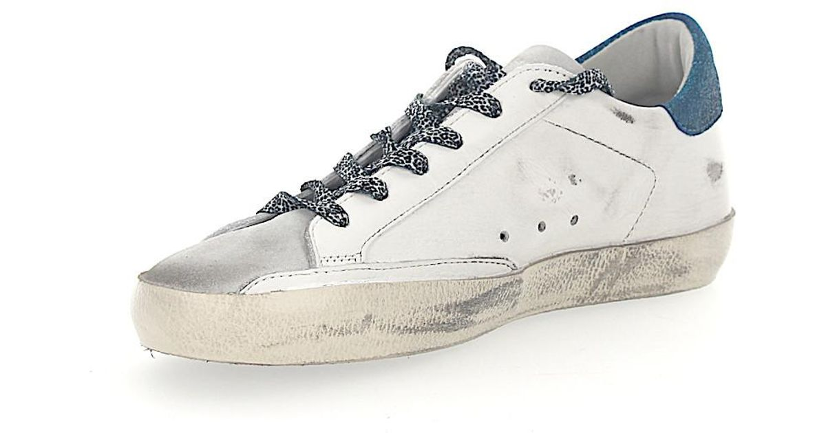 Sneakers SUPERSTAR leather white Star-Patch blue glitter Golden Goose Q8WyzqN