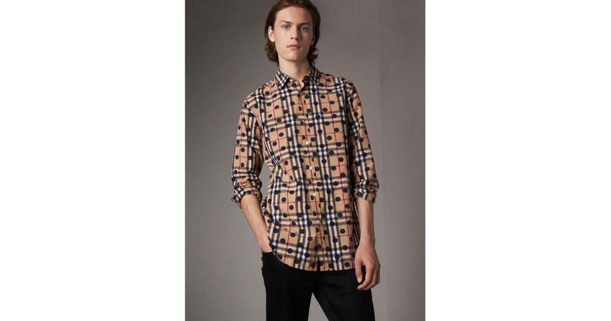62a6b18c9334 Lyst - Burberry Spot Print Check Cotton Shirt in Blue for Men