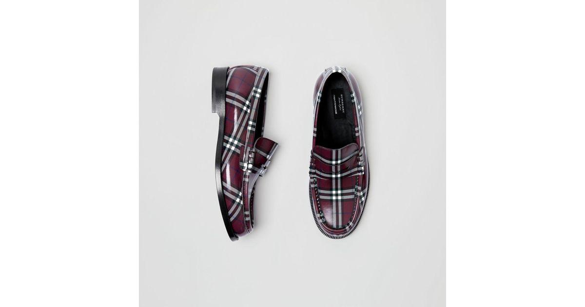 Burberry Gosha X Check Leather Loafers