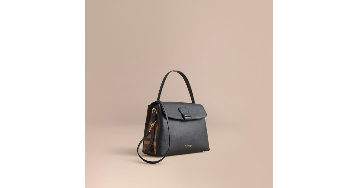 d0cd6c5a37f3 Lyst - Burberry Medium Grainy Leather And House Check Tote Bag Black in  Black