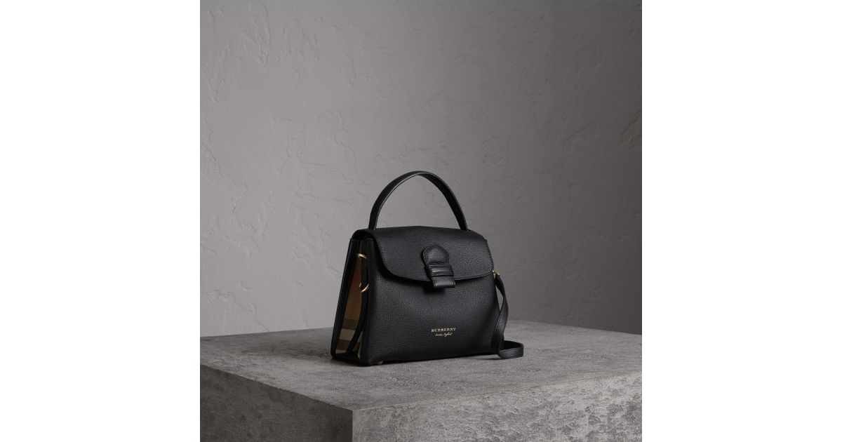 ff603a244b22 Burberry Small Grainy Leather And House Check Tote Bag In Black - Women