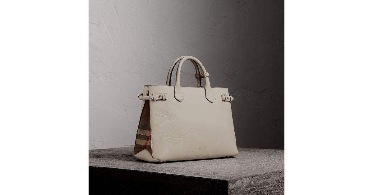 6d1d9987d027 Lyst - Burberry The Medium Banner In Leather And House Check in Natural