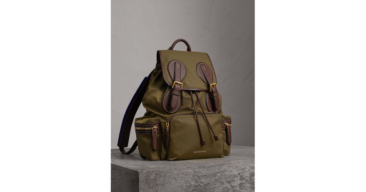 Lyst - Burberry The Large Rucksack In Technical Nylon And Topstitched  Leather in Green for Men c92eb37073a48