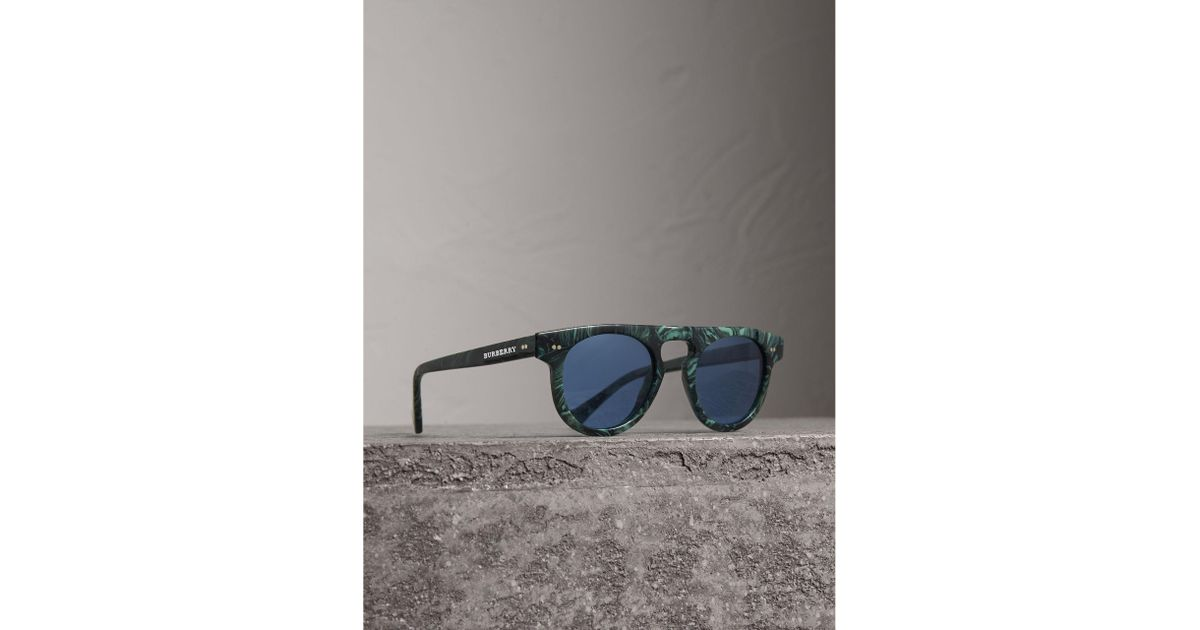 067770fc5ac8 Burberry The Keyhole Round Frame Sunglasses in Blue for Men - Lyst