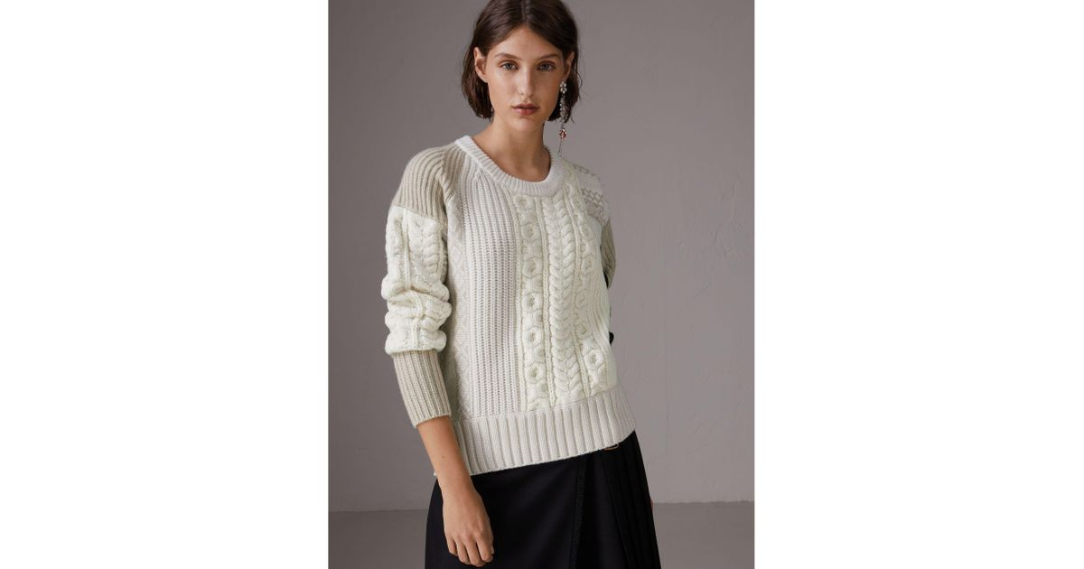Lyst - Burberry Colour Block Fair Isle And Cable Knit Wool ...