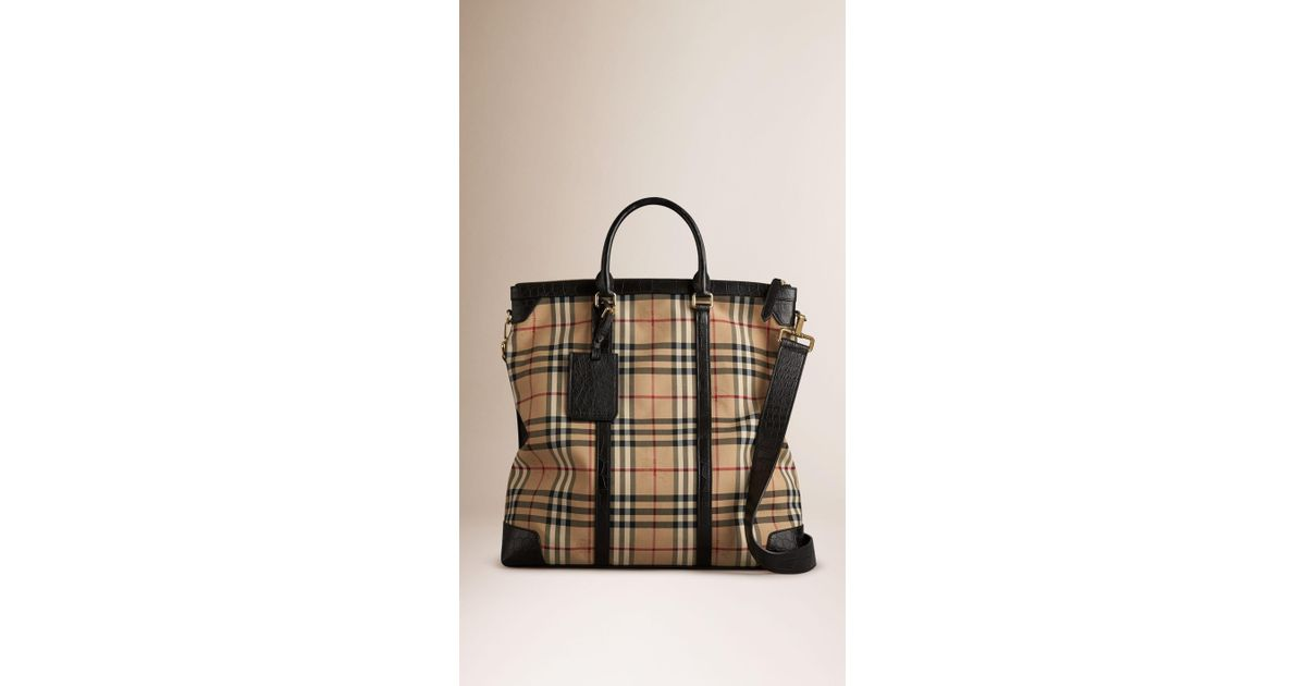 c2daf9ad9c32 Lyst - Burberry Horseferry Check Alligator Tote Bag in Natural for Men