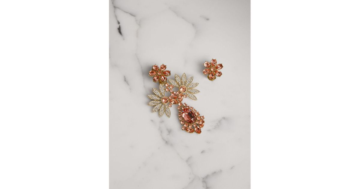 Burberry Half Daisy crystal-embellished mismatched earrings lfW4jHsV