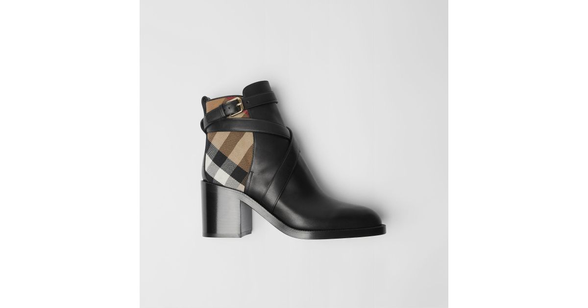 2558c532888 Burberry House Check   Leather Bootie in Black - Save 19% - Lyst