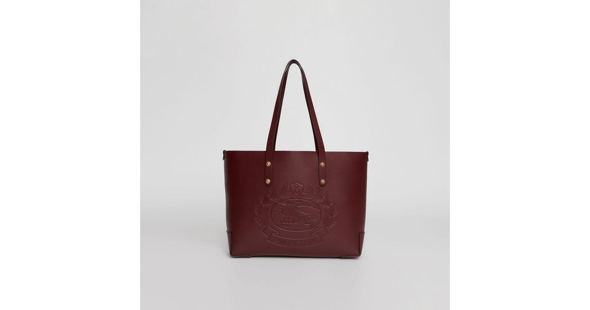 5037c5ef81cf Burberry Small Embossed Crest Leather Tote - Lyst