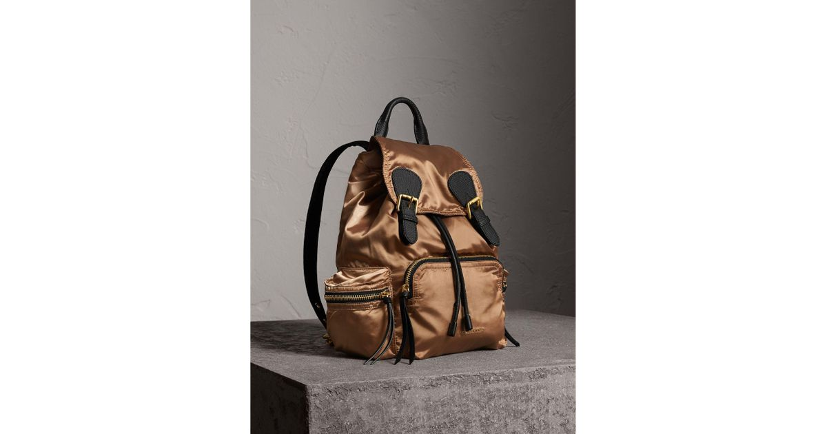 a0a795c93e Burberry The Medium Rucksack In Two-tone Nylon And Leather Gold black - Lyst