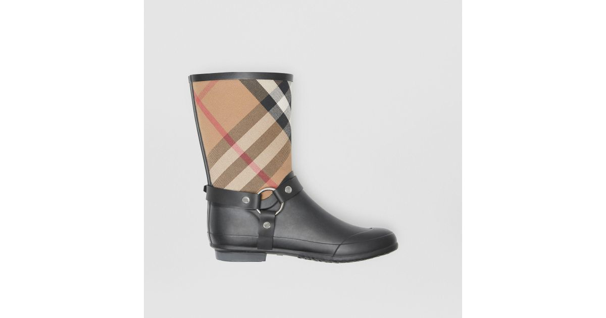160b9d5d91b9 Lyst - Burberry Buckle And Strap Detail Check Rain Boots House Check black  in Black