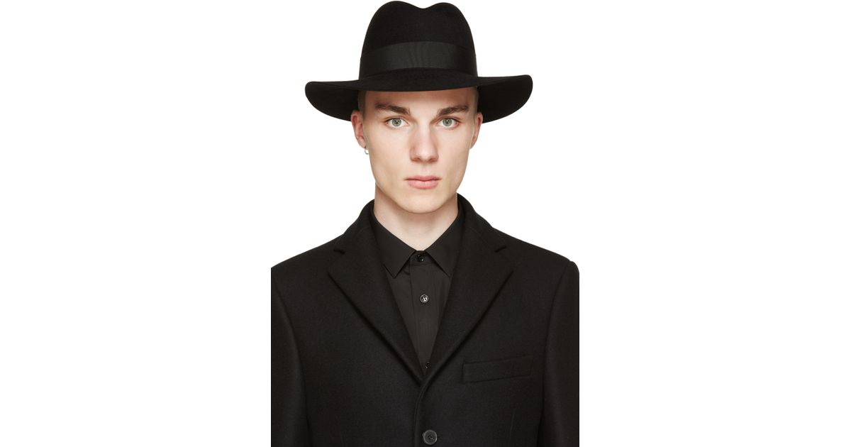 Lyst - Saint Laurent Black Felted Fedora in Black for Men 6337899c143