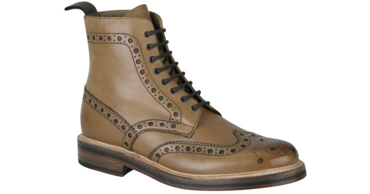 grenson s fred brogue boots in brown for lyst