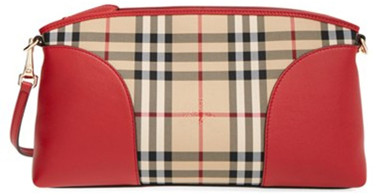 8e07a477e8 Burberry 'small Chichester - Horseferry Check' Crossbody Bag in Red - Lyst