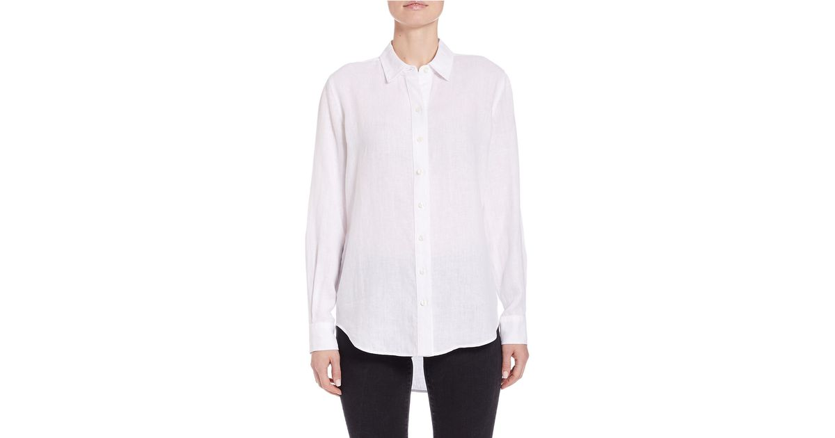 Lyst Lord Taylor Linen Hi Low Dress Shirt In White