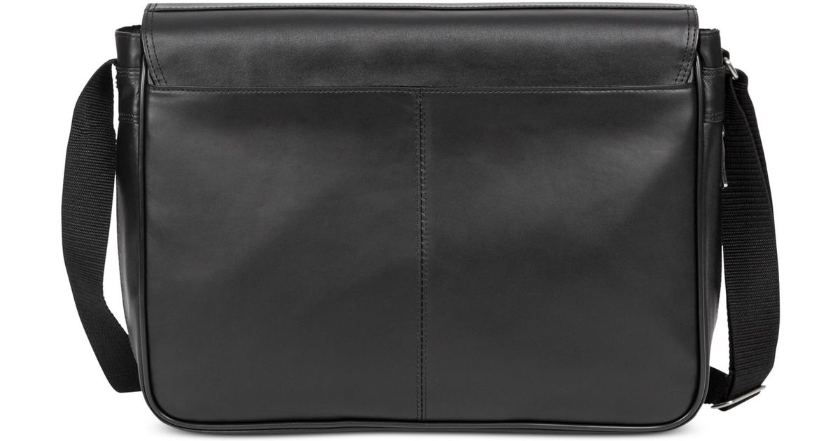 Kenneth Cole Reaction Black Manhattan Leather What A Bag Expandable Flapover 15 Computer Messenger For Men