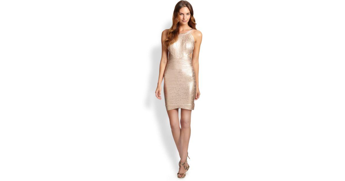 1649ef336c08 Hervé Léger Foil Bandage Dress in Pink - Lyst