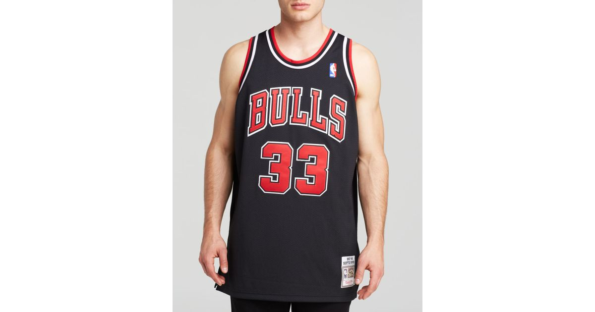 huge discount a2c8e 56512 hot mitchell and ness chicago bulls 33 scottie pippen red ...