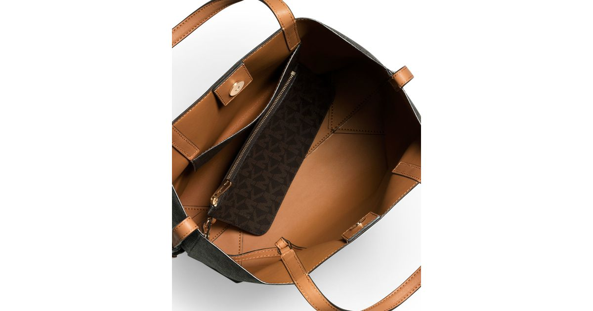 d7a0e8f68bd1 Lyst - MICHAEL Michael Kors Hayley Large Convertible Tote Bag in Brown