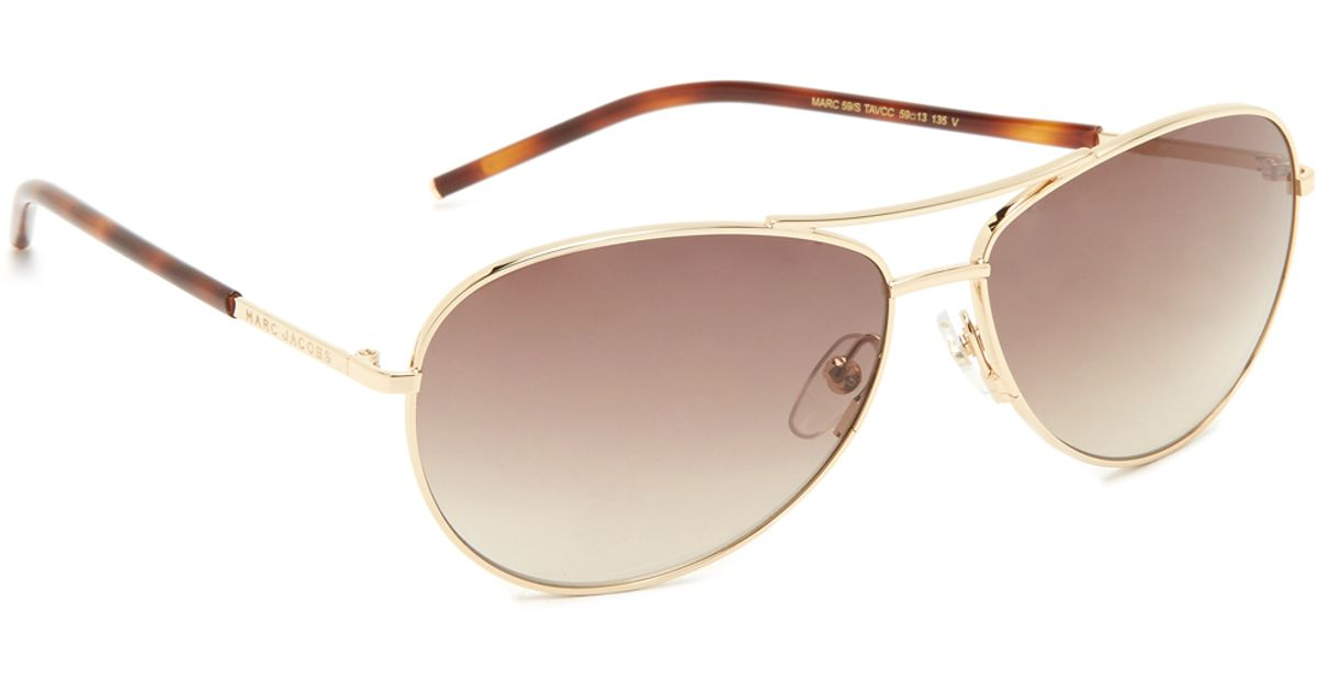 Marc jacobs Easy To Wear Curved Aviator Sunglasses in ...