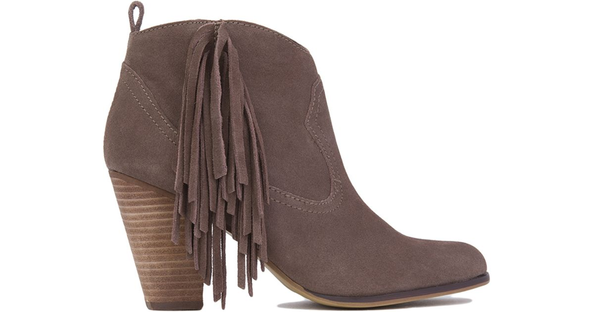 Steve madden Ohio Side Fringe Ankle Boots - Taupe Suede in Brown ...