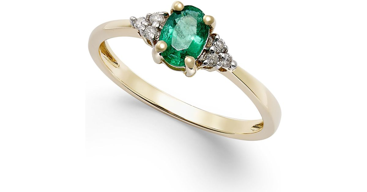 Macy s Emerald 2 5 Ct T w And Diamond Accent Ring In 10k Gold in Gree