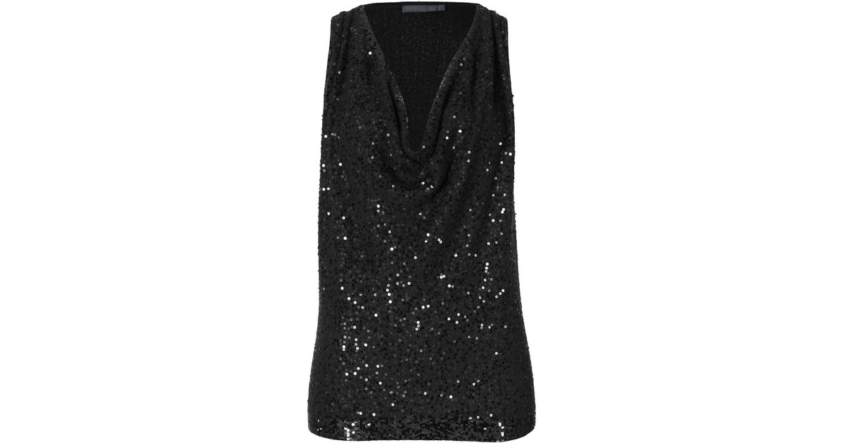 13f297c44620 Lyst - Donna Karan Sequined Cashmere Cowl Neck Top in Black