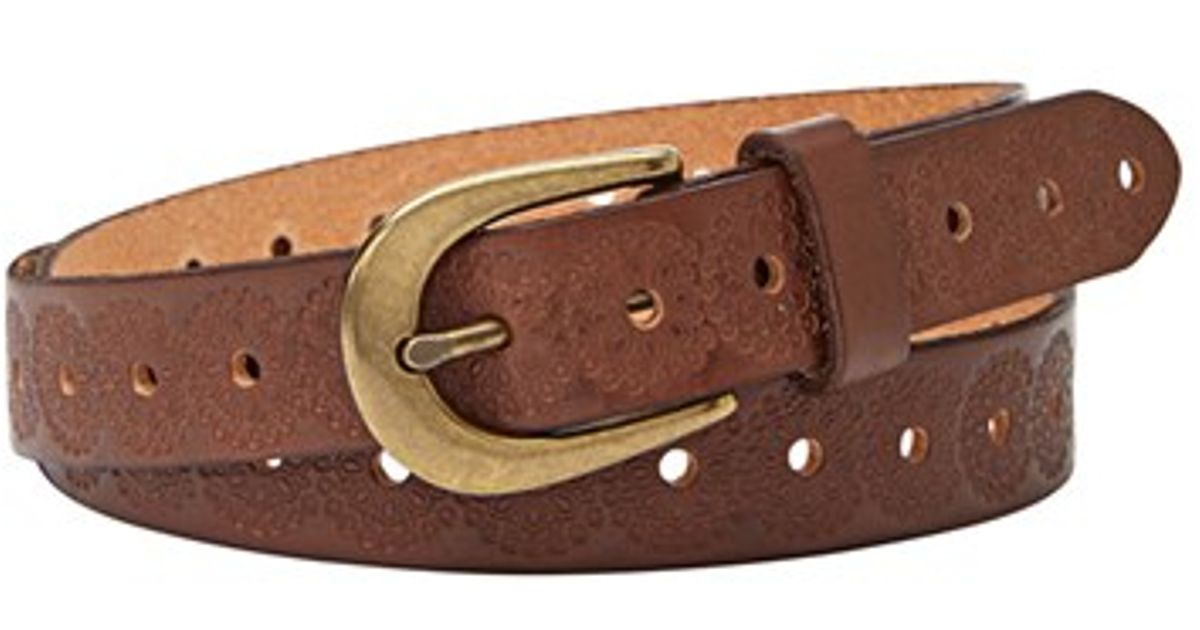 fossil floral embossed leather belt in brown lyst